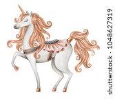 watercolor unicorn illustration ... | Shutterstock . vector #1048627319