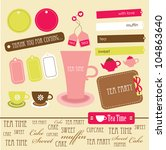 cute scrapbook tea time... | Shutterstock .eps vector #104863640