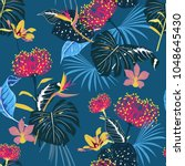 darkt tropical pattern with... | Shutterstock .eps vector #1048645430