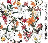 trendy  floral pattern in the... | Shutterstock .eps vector #1048645469