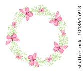 watercolor wreath on white... | Shutterstock . vector #1048645913