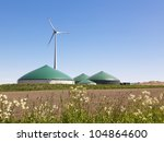 biogas plant and wind turbine... | Shutterstock . vector #104864600