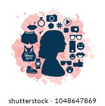 female head silhouette side... | Shutterstock .eps vector #1048647869