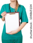 young woman doctor with stethoscope keeping  clipboard, white background - stock photo