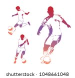 soccer players. the colorful... | Shutterstock .eps vector #1048661048