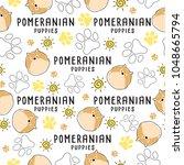 pomeranian   dog breed... | Shutterstock .eps vector #1048665794