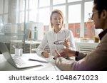mature businesswoman discussing ... | Shutterstock . vector #1048671023