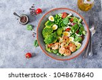 healthy salad plate. fresh... | Shutterstock . vector #1048678640