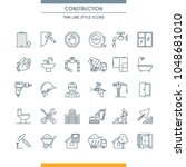 thin line design icons on... | Shutterstock .eps vector #1048681010