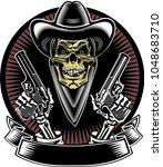 skull with guns   Shutterstock . vector #1048683710