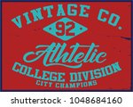 vintage varsity graphics and... | Shutterstock .eps vector #1048684160