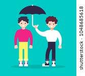 help to keep the umbrella.... | Shutterstock .eps vector #1048685618