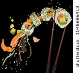 pieces of delicious japanese... | Shutterstock . vector #1048686413