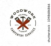 vintage carpentry logo. retro... | Shutterstock .eps vector #1048686866