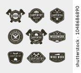 set of vintage carpentry logos. ... | Shutterstock .eps vector #1048686890