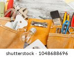 different construction tools on ... | Shutterstock . vector #1048688696