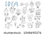Stock vector idea icons set rocket puzzles rotating gears open book pens human head magnifying glass 1048690376