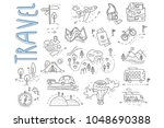 doodle set of travel and... | Shutterstock .eps vector #1048690388