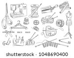 vector set of hand drawn sewing ... | Shutterstock .eps vector #1048690400