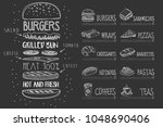 cafe menu on black chalkboard.... | Shutterstock .eps vector #1048690406