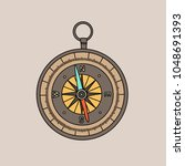vintage compass isolated on... | Shutterstock .eps vector #1048691393