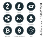 flat cryptocurrencies icons of... | Shutterstock . vector #1048696550
