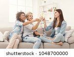 three friends toasting with... | Shutterstock . vector #1048700000