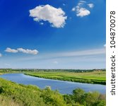 deep blue sky and river - stock photo