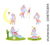 set of funny unicorn meditates  ...   Shutterstock .eps vector #1048701854