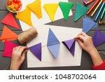birthday handmade background.... | Shutterstock . vector #1048702064