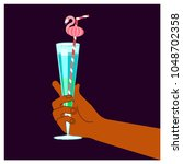 hand holding a glass with a...   Shutterstock .eps vector #1048702358