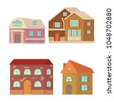 set of cartoon house isolated...   Shutterstock .eps vector #1048702880