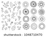 flowers doodle set. design... | Shutterstock .eps vector #1048710470