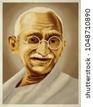 Digital art of Mahatma Gandhi.