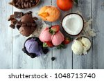 set of ice cream scoops of... | Shutterstock . vector #1048713740