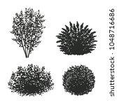 shrubs silhouettes.vector... | Shutterstock .eps vector #1048716686