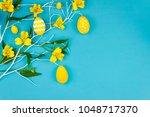 happy easter concept. blue...   Shutterstock . vector #1048717370