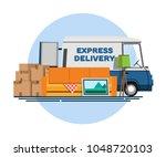 cargo transportation. express...   Shutterstock .eps vector #1048720103