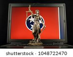 symbol of law and justice with... | Shutterstock . vector #1048722470