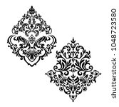 damask set white and black... | Shutterstock .eps vector #1048723580