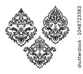 damask set white and black... | Shutterstock .eps vector #1048723583