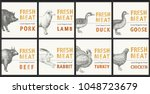 labels with farm animals. set...   Shutterstock .eps vector #1048723679
