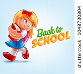 girl back to school | Shutterstock .eps vector #1048730804