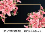 wedding invitation with lily... | Shutterstock .eps vector #1048732178
