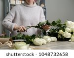 florist with bouquet of roses... | Shutterstock . vector #1048732658