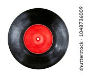 round vinyl record with red... | Shutterstock . vector #1048736009