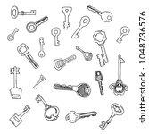 hand drawing set of keys... | Shutterstock . vector #1048736576
