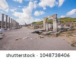 ancient ruins of perge. agora... | Shutterstock . vector #1048738406