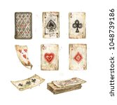 old playing cards. watercolor... | Shutterstock . vector #1048739186
