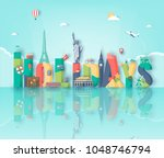 summer holidays. travel and... | Shutterstock .eps vector #1048746794